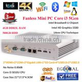 PC Games Intel Core i3 Processor Onboard Fanless Mini PC Windows7 HD5500 2*HD MI/COM/LAN Small Server 4GB RAM 500GB Laptop HDD