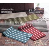 Colorful Japanese and Korean Style Polypropylene fiber Rectangle Stripe Shape Brief Loop Pile Kitchen Door mat