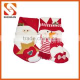 SJ-6952 Funny Christmas socks fleece Santa snowman stocking