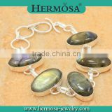 Hermosa Jewelry NEW ARRIVAL Natural Rainbow Labradorite 925 Sterling Silver Charm Bracelet Jewelry