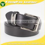 Classical sample style Man black PU leather belt with hematite metal accessories in YiWu