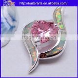 925 Sterling Silver Pendant Necklace Opal And Pink Sapphire Heart Pendant Wholesale