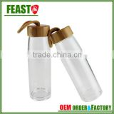 500ml sports glass water bottle with wooden lid