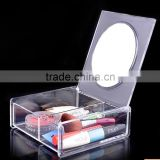Factory direct sale perspex cosmetic case clear acrylic makeup storage boxes with mirror