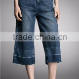 jeans product type 100% cotton women wide leg denim palazzo pants cargo distressed jeans shorts