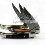 10cm Damascus Steel Laguiole Knife, Buffalo Horn, Stag and Olive Wood Handles