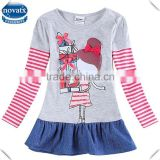 (H6075D) 2-6y nova kids garments long sleeves winter o-neck baby girls casual dress with jean skirts children's frocks