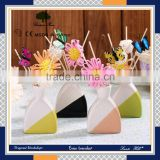 decorative colourful glass bottle hotel lobby aroma reed diffuser with rattan ball sticks and flower