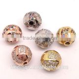 SJ3127 Silver pave diamond round beads, high quality cz jewelry for bracelet and pendant