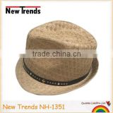 Brown rhombus pattern natrual straw hant man hat with studs PU band