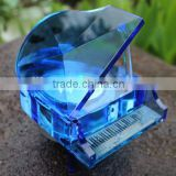 manufacturer price in discount decoration glass blue transparent crystal piano music box