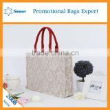 Eco-friendly burlap sack wholesale shopping handbags linen fabric gunny bag jute hessian bags