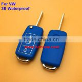 New arriver 3 button waterproof vw remote key blank with blue color key shell colorful for vw key
