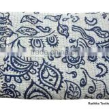 RTHKG-49 Paisley Leaf Designer Pure 100% Cotton kantha Gudari Home Decor Patchwork Bedspread Double / Single Bed Throws Jaipur