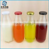 high quality wholesale 300ml glass milk bottle with metal lid beverage juice glass bottle