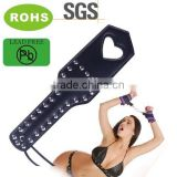 Dark blue slave Paddle, Leather Heart Leather spanking paddle for girl. Sexy joyful adults toys of sex Whips and paddles