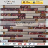 Strip Glass Metal Mosaic Tile for Bathroom, Kitchen, Backsplash, Wall AME3038