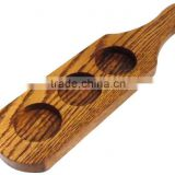 Wooden beer flight tasting paddles 3 holes paddle beer tasting serving paddle cup tray customize hot sale