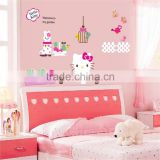 "155x95cm (61""x38"") Hello Kitty Wall Stickers for Kids Rooms DIY Adesivo de Parede Butterfly Bathroom Bedroom Wallpaper CC6933"