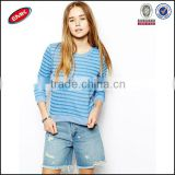 high quality breathable cotton pullover 3/4 sleeve striped hoodie without hood for ladies