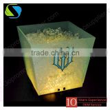 2016 factory top quality custom logo full printed rechargeable led plastic square ice bucket cube low price moq