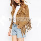 Women Clothes Factory Manufacturer 2015 Fashion Latest design Cool Short Biker jackets With Fringes