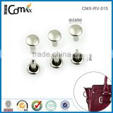 Shiny sliver double heads metal rivet for leather bag