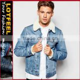 Mens Jacket Sherpa Fleece Denim Jeans Cotton Collared Button Casual denim jacket(LOTJ180)