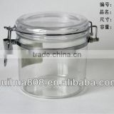 470ml wholesale hermetic airtight plastic jam jar with mental clip for food factory