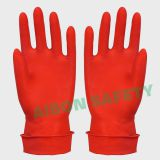 Red rubber household gloves