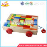 wholesale multi colored wooden blocks toy car for kids superior quality wooden blocks pull car toy for baby W13C014