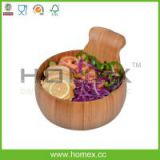 Natural Attractive Kitchenware Tools/Bamboo round dark salad bowls/HOMEX-FSC/SGS/FDA/LFGB/BSCI