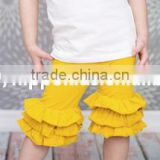 2016 new summer girl pure color capris triple layered ruffle shorts sew sassy icing legging girls pants