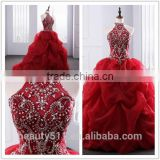 2018 Dramatic Quinceanera Dress Neck line Beaded Appliques Red Organza quinceanera gowns ED025201