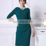 dark cyan sequined beaded long sleeve boat neck knee length dress