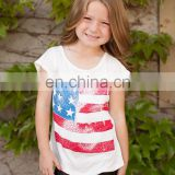 Ivory girls American flag print tee,plain tee,knit tee custom