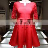 1A947 Red Satin Dress Lace Sleeve Knee Length Evening Dress Prom Dress