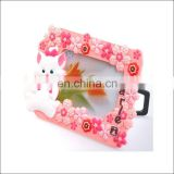 Cute little mice pink flowers photo frame