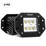 Nilight 2PCS 18W Spot LED Work Light Driving Lights LED Light Bar off Road LED Lights Flush Mount for Jeep Truck Tacoma