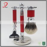 High end personalized metal two band badger hair shaving brush set,metal shaving stand