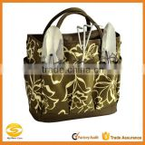 custom printed polyester garden tool bag for women,brown garden tool organizer bag,custom made ladies garden tool bags