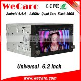 "Wecaro 6.2"" WC-2U6400 Android 4.4.4 car dvd player double din made in china car dvd player audio system bluetooth"