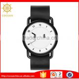 White Dial Black Bracelet Watch Color Change Leather Watch Belt