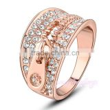 Personalized zipper design gold crystal new model wedding ring