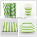 Wholesale Party Paper Tableware, Green Striped Paper Plates, Paper Cups, Paper Napkins, Paper Straws, Paper Bags