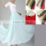 wholesale customized aqua blue long chiffon maxi skirt, evening prom party evening all lined tutu dress, feminine long petticoat