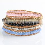 New Crystal Beads With Gold Plated Beads Wrap Bracelets Leather Bracelet With Stones Wholesale Leather Jewelry
