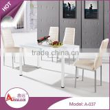 Home furniture 6 seater tempered glass dining room table sets metal base white glass dining table and chair                                                                         Quality Choice