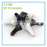 hot sale oem white and black colorful ring blue led 5v 5.2a 6.8a 3 port charger for android tablet