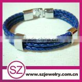 MLB0003 blue leather stainless steel buckle/power bracelet